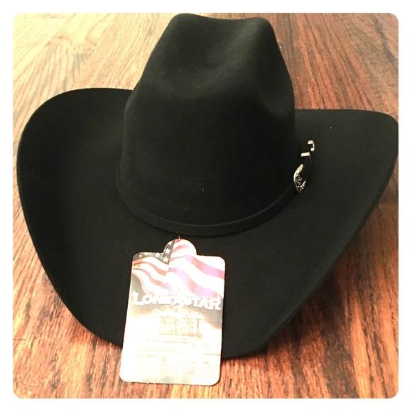 NWT Lonestar Black wool felt cowboy hat NWT